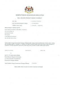 Kementerian Kewangan Malaysia Certificate